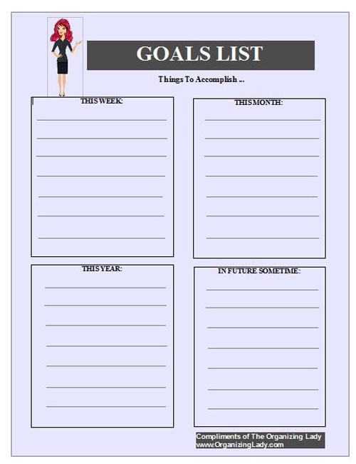 goal-list organizinglady