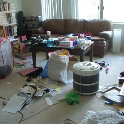 messy disorganized living room