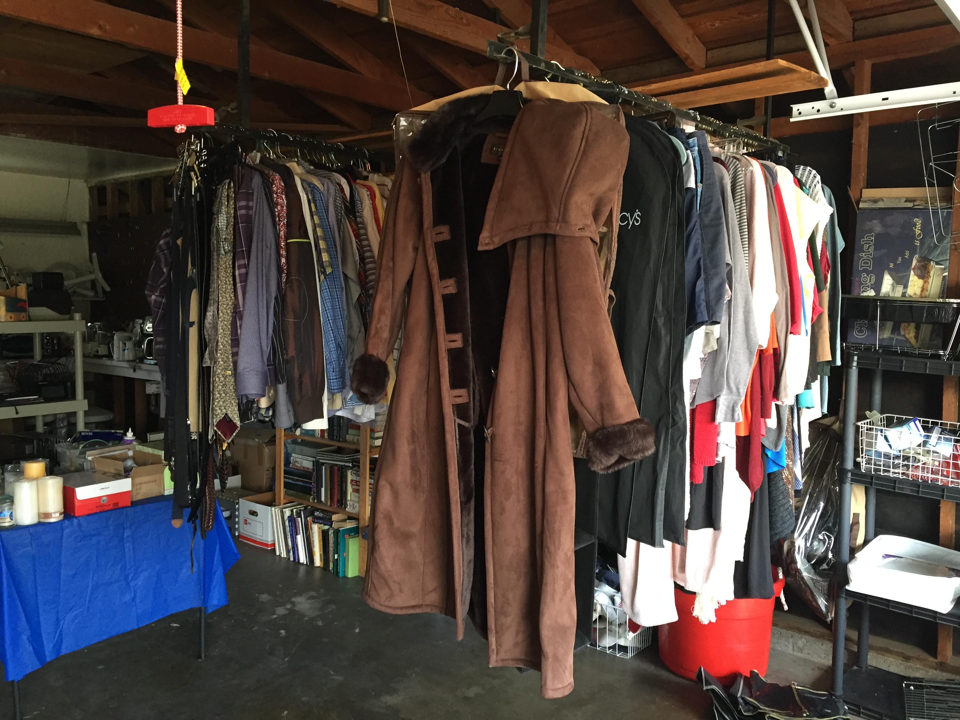 Estate sale clothing area