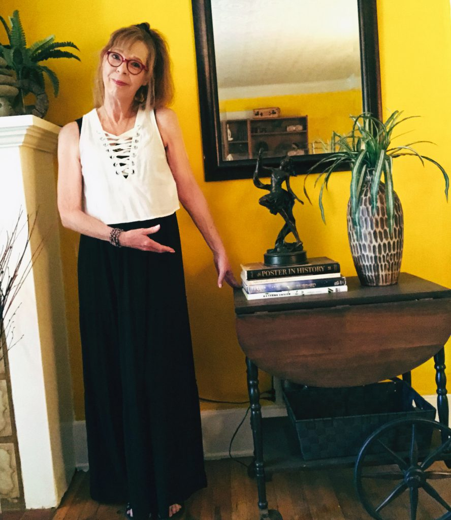 Cyndi Seidler showing art table