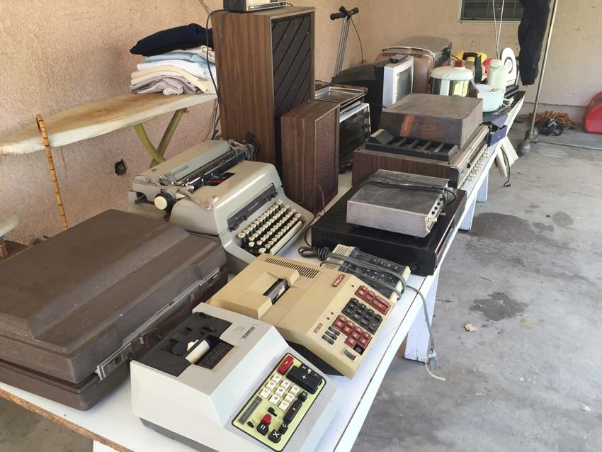 electronics table at garage sale