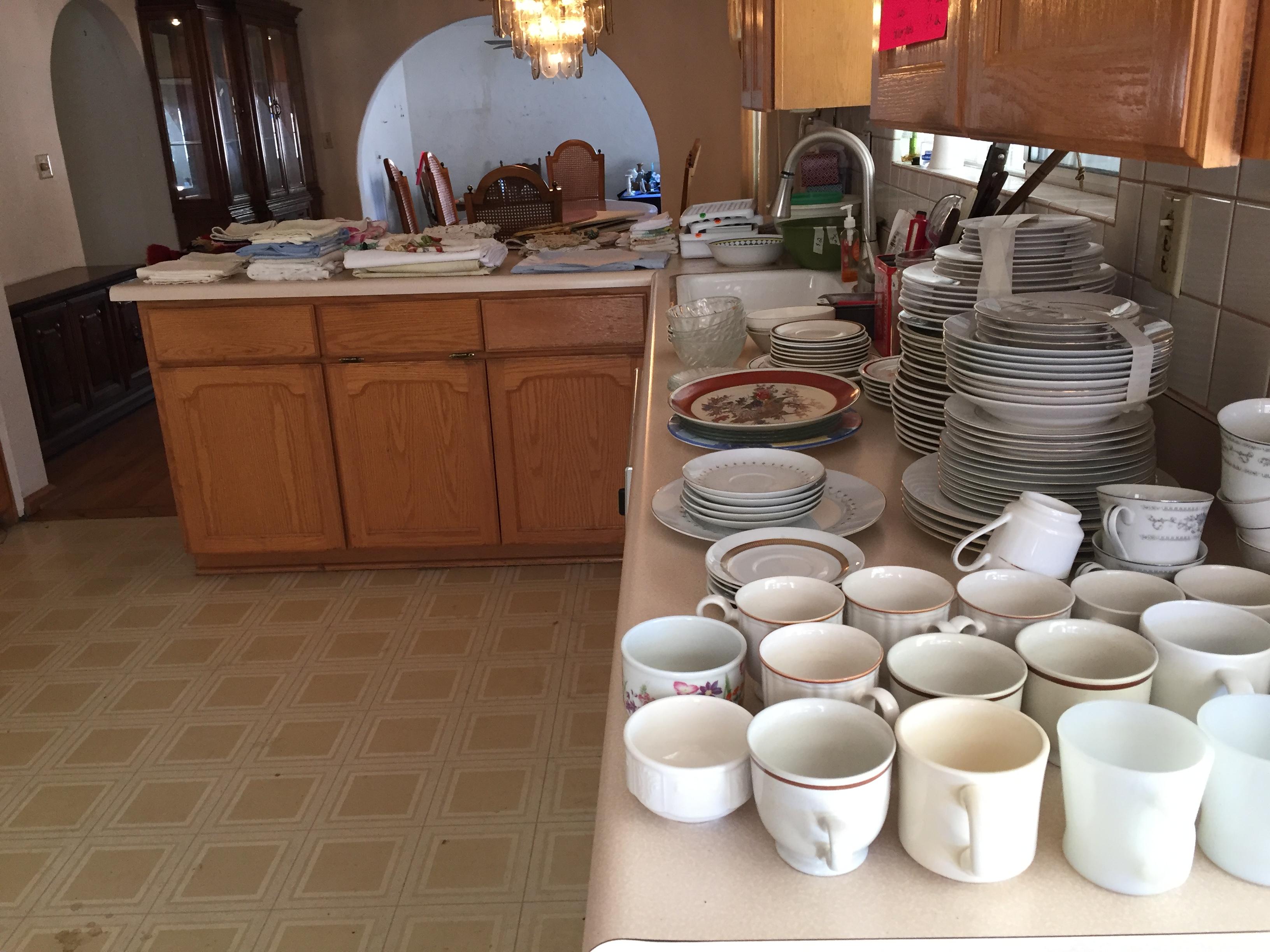 dishware display at estate sale